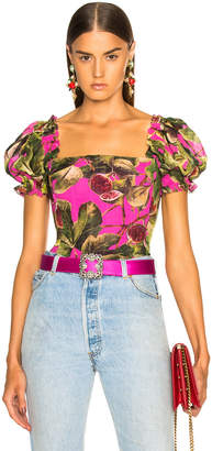Dolce & Gabbana Fig Print Georgette Corset Blouse