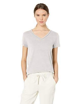 Democracy Women's Short Sleeve V Neck Tee with Chain Detail