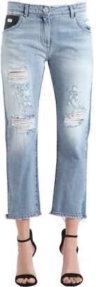 John Richmond Baggy Fit Broken Cotton Denim Jeans