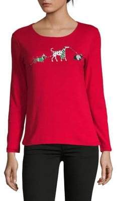 Karen Scott Petite Holiday Dogs Long-Sleeve Top