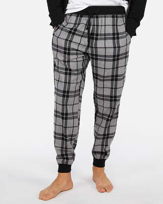 Express Exp Weekend Brushed Plaid Flannel Jogger Pant