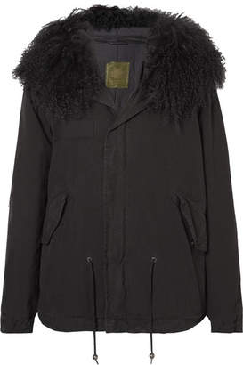 Mr & Mrs Italy Shearling-trimmed Cotton-canvas Parka - Black