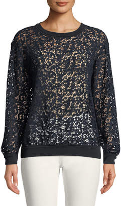 Lafayette 148 New York Cirilla Long-Sleeve Floral Lace Blouse