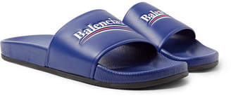 Balenciaga Logo-Print Leather Slides