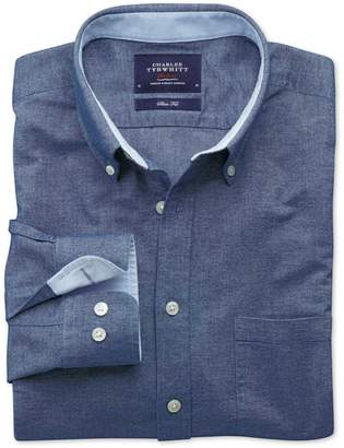 Charles Tyrwhitt Classic Fit Denim Blue Washed Oxford Cotton Casual Shirt Single Cuff Size Small