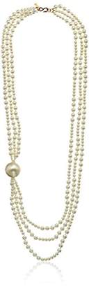 Kenneth Jay Lane 3 Row White Faux Pearl with Large Stations Faux Pearl Strand