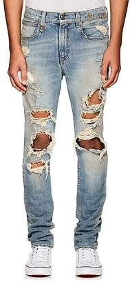 R 13 Men's Skate Distressed Skinny Jeans - Blue