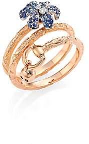 Gucci Women's 18K Pink Gold, White Gold, Sapphire & Diamond Flower Ring