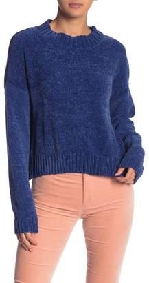 Woven Heart Chenille Mock Neck Sweater