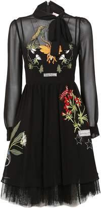 RED Valentino Embroidered Midi Dress