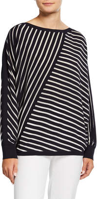 Lafayette 148 New York Directional Striped Dolman Sleeve Sweater