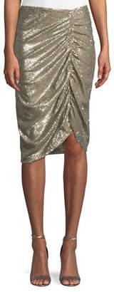 Nanette Lepore Silver Screen Ruched Sequin Skirt