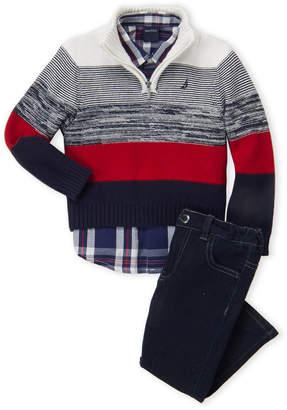 Nautica Toddler Boys) 3-Piece Color Block Sweater & Jeans Set