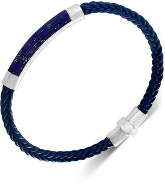 Effy Men's Lapis Lazuli Braided Leather Bracelet in Sterling Silver (Also in Malachite, Agate & Tiger's Eye)