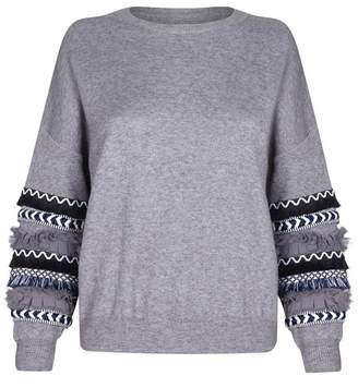 Quiz Grey Knit Fringe Sleeve Jumper