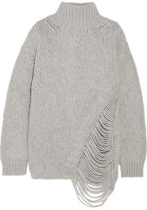 IRO Vasen Oversized Laddered Wool-blend Turtleneck Sweater - Light gray
