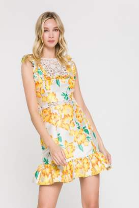 Endless Rose FLORAL BROCADE RUFFLED DRESS