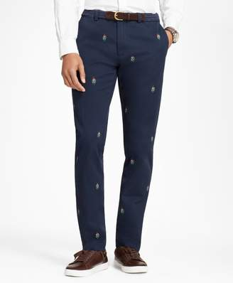 Brooks Brothers Slim-Fit Mistletoe-Embroidered Cotton Twill Chinos