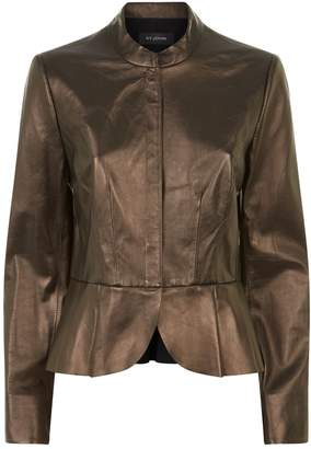 St. John Pleated Peplum Leather Jacket