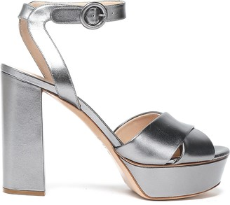 Casadei Metallic Leather Platform Sandals