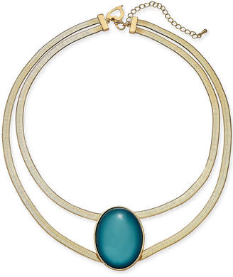 """Thalia Sodi Gold-Tone Oval Stone Double-Row Collar Necklace, 16"""" + 3"""" extender, Created for Macy's"""