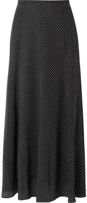 Max Mara Polka-dot Silk Crepe De Chine Midi Skirt - Black