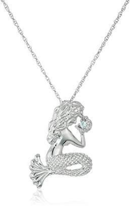 Sterling Silver and Topaz Mermaid Pendant Necklace