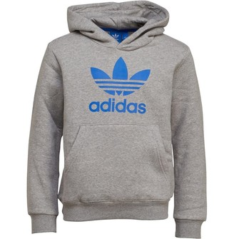9d96be40 adidas Junior Boys Trefoil Hoodie Medium Grey Heather