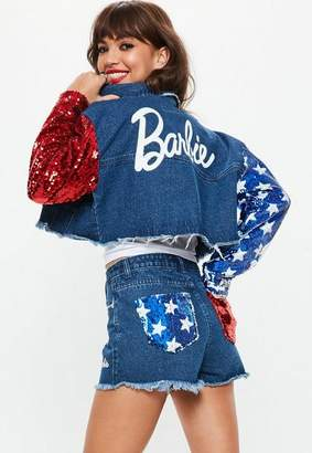 Missguided Barbie x Blue American Flag Sequin Arms Cropped Denim Jacket