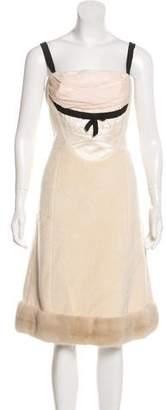 Louis Vuitton Mink-Trimmed Shearling Dress