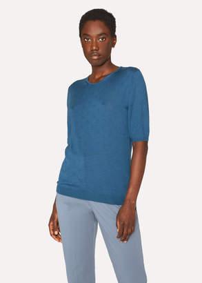 Paul Smith Women's Petrol Merino Wool And Silk-Blend Knitted T-Shirt