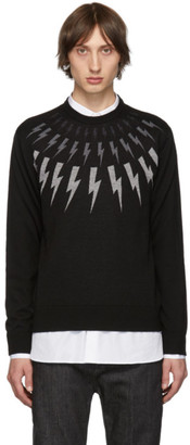 Neil Barrett Black Multi Lightning Bolt Sweater