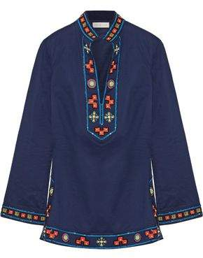 Tory Burch Tory Appliquéd Embellished Cotton Tunic