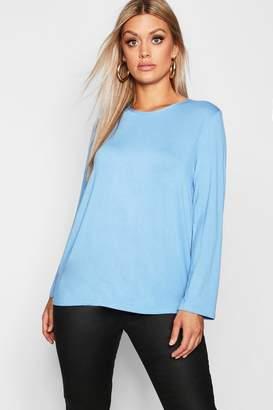 boohoo Plus Jersey Long Sleeve Open Back T-Shirt