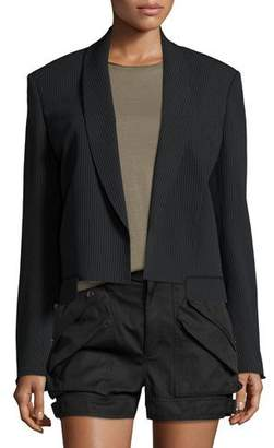 Helmut Lang Ribbed Shawl-Collar Cropped Jacket, Black $695 thestylecure.com
