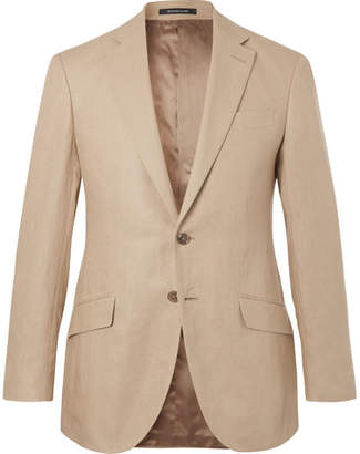 Richard James Beige Seishin Slim-Fit Linen Suit Jacket