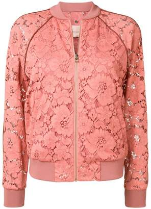Twin-Set floral lace bomber jacket