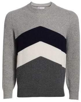 Brunello Cucinelli Sport Graphic Wool, Silk& Cashmere Rib-Knit Crew Sweater