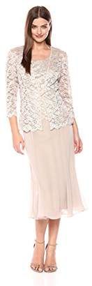 Alex Evenings Women's Two Piece Tea Length Mock Lace Jacket Dress (Petite and Regular Sizes)