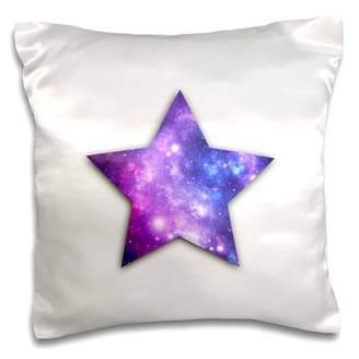 3dRose Space Star - star shape with purple outer space galaxies stars nebulas - Pillow Case, 16 by 16-inch