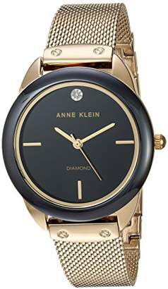 Anne Klein Women's AK/3258BKGB Diamond-Accented Gold-Tone Mesh Bracelet Watch