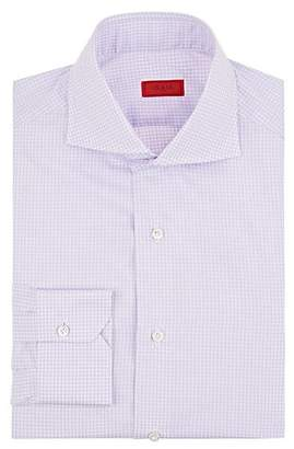 Isaia Men's Checked Cotton Poplin Dress Shirt - Md. Purple