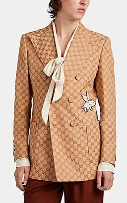Gucci Men's Appliquéd Logo-Jacquard Double-Breasted Sportcoat - Beige, Tan