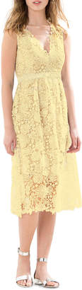 Donna Morgan Lace V-Neck Midi Dress