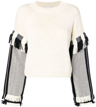 3.1 Phillip Lim Long Sleeve Fringed Sweater