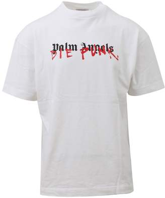 Palm Angels White Round Neck T-shirt