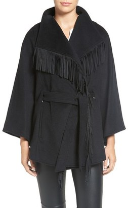 Women's Ellen Tracy Faux Suede Fringe Belted Wool Blend Cape $178 thestylecure.com