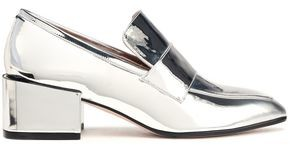 Stuart Weitzman Suede-trimmed Glittered Leather Loafers