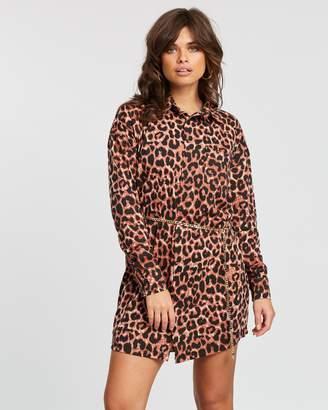 Missguided Leopard Jersey Shirt Dress