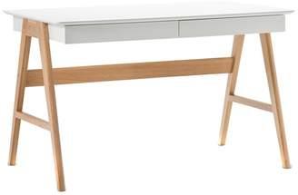 White Scandi 2 Drawer Desk